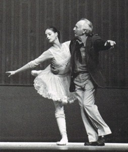 George Balanchine partnering Suzanne Farrell in rehearsal of Moziartiana, created for the 1981 New York City Ballet Tchaikovsky Festival.